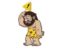 Caveman with Warning Sign