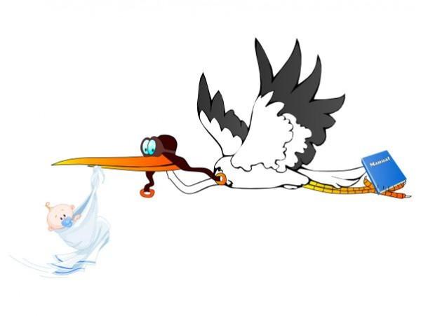 Stork Caring Baby